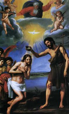 The Baptism of Christ Art Print by Ottavio Vannini Catholic Art, Religious Art, Roman Catholic, Saint François Xavier, Image Jesus, Baptism Of Christ, Religion, Jesus Painting, Jesus Christus