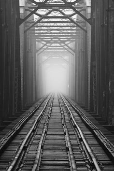 the Sault Ste. Marie International Railroad Bridge looks south from Sault, Ontario to Sault, Michigan photos there Railroad Bridge, Railroad Tracks, Sault Ste Marie Ontario, Phoenix Legend, Vanishing Point, To Infinity And Beyond, Lake Superior, Train Tracks, Black And White Photography