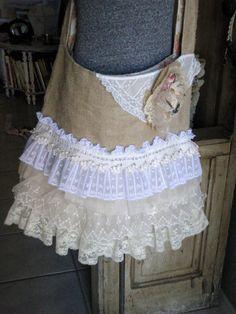 Burlap Messenger Bag Romantic Layers of Lace, Large Shoulder Bag