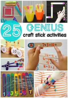 25 Genius Craft Stick Activities. Math games, science experiments, craft projects... tons of fun ways to use craft sticks!