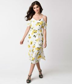 Retro Style White and Yellow Floral Print Cold Shoulder Flare Dress