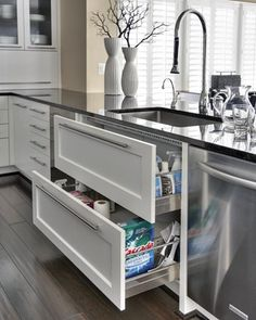 trendsideas.com: architecture, kitchen and bathroom design: Visual continuity – Custom oak island kitchen by Susan Apatoff Draws under sink are u shaped drawers to allow for cleaning stuff great idea