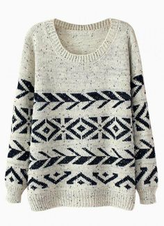 Beige & Navy Geometric Print Sweater on Wanelo