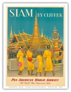 Pan American World Airways (PAA) - Siam (Thailand) by Clipper - Monks at Wat Phra Kaeo, Temple of the Emerald Buddha - Vintage Airline Travel Poster by Charles Baskerville c.1950s - Master Art Print - 9in x 12in: Amazon.co.uk: Kitchen & Home