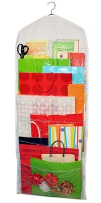 My gift bags are all shoved in a closet.  I love this idea!!!