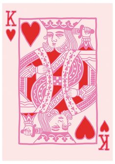 King of Hearts Pink Wall Art Print, Queen of Hearts, Playing Card Print, Pink Print, Pink and Red, Home Decor, Wall Decor, Pink Wall Print