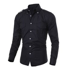Find More Casual Shirts Information about High quality 2016 new fashion design epaulets double pocket men's casual slim long sleeved shirt Mens Dress Shirts M XXL,High Quality double pocket,China designer mens dress shirts Suppliers, Cheap men's designer dress shirts from DANEL 008 Store on Aliexpress.com