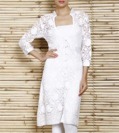 White Cotton Tunic With Chikankari