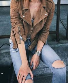 Jacket: suede suede ripped jeans zip silver bracelet cuff bracelet fall outfits fall brown