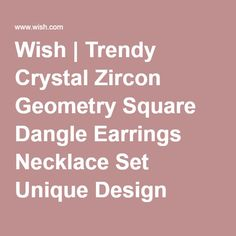Wish | Trendy Crystal Zircon Geometry Square Dangle Earrings Necklace Set Unique Design Style Silver 18K Gold Plated Wedding Jewelry