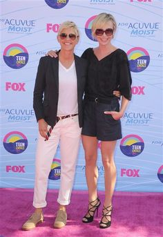 Ellen DeGeneres and Portia de Rossi arrive at the 2012 Teen Choice Awards at Gibson Amphitheatre on July 22, 2012 in Universal City, Calif. See More on Wonderwall. http://on-msn.com/LJdoDE