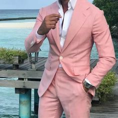 Online Shop Summer Pink Linen Men Suits Set Wedding Tuxedo for Groom Wear 2 Piece Suit Man Costume Homme Slim Fit Terno Masculino Prom Party Aliexpress Mobile is part of Linen suit Summer Pink Lin - Pink Prom Suit, Pink Suit Men, Terno Casual, Terno Slim, Casual Blazer, Prom For Guys, Prom Suits For Men, Suits For Guys, Groom Tuxedo Wedding