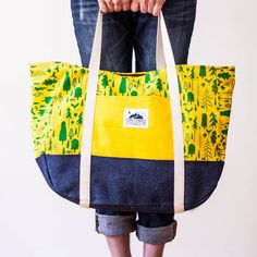 Yellow Forest Beach Bag - Forest & Waves