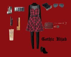 Red and Black gothic outfit