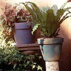 Leaf-Painted Flowerpots - great way to give your terra cotta pots a new look.