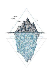 Geometric Drawing - Iceberg by Barlena