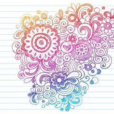Flowers Sketchy Doodles Back to School Vector Illustration — Imagen vectorial #9838782