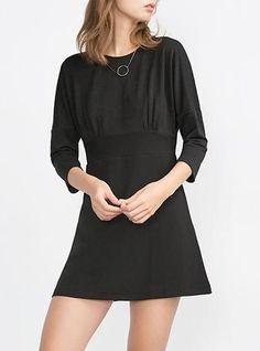 Womens Little Black Mini Dress - Solid Black / Three Quarter Length Sleeves