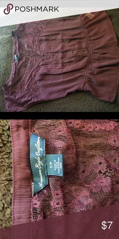 American Eagle lace top Maroon dressy top. See through so a cami/undershirt is recommended. Worn once American Eagle Outfitters Tops Blouses