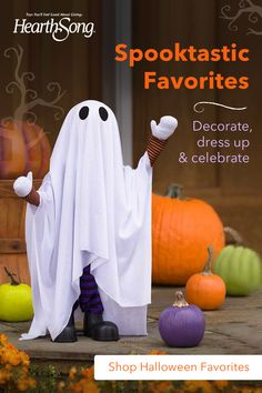 """This Wiggle Ghost is a spooky specter that will bring some big """"BOO"""" to your Halloween decor! Place him near the door to greet unsuspecting guests and Trick-or-Treaters!  The freestanding ghost comes pre-assembled and is on a solid base, so it's perfect for an entryway table or a Halloween centerpiece on the dining table. Arms and head move and plays a spooky sound. Arms are also bendable - so strike a scary pose! Just clap to activate. Halloween Ghost Decorations, Halloween Porch, Halloween Sale, Halloween Crafts For Kids, Halloween Ghosts, Halloween Costumes For Kids, Halloween Ideas, Fall Festival Crafts, A Christmas Story"""