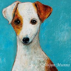 """Jack Russell Terrier""by Shijun Munns, 16x16"" oil on canvas, 2010. #art #artist #artistic #myart #artwork #Dog #dogportrait #painting #creative #beautifulcoast #JackRussellTerrier #customportraits #ShijunMunns www.shijunart.com Jack Russell Terrier, Dog Portraits, Oil On Canvas, Dog Cat, Moose Art, Art Gallery, Coast, Creative, Artwork"