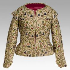 Linen embroidered woman's jacket, about 1615–18, English.  Glasgow Museums.