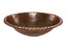 Oval Roped Rim Self Rimming Hammered Copper Sink