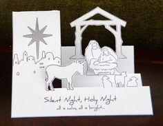 laura's frayed knot: Pop-Up Nativity Christmas Card Christmas Paper Crafts, Christmas Cards To Make, Christmas Greetings, Handmade Christmas, Holiday Cards, Christian Christmas Cards, Religious Christmas Cards, Pop Up Karten, Karten Diy