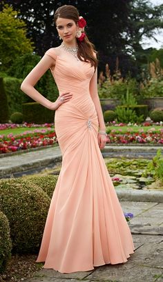 Sexy Trumpet/Mermaid Straps Beading Ruching Floor-length Chiffon Bridesmaid Dresses _1