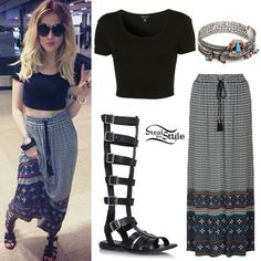 Perrie Edwards: Maxi Skirt, Gladiator Sandals BOHIMIAN
