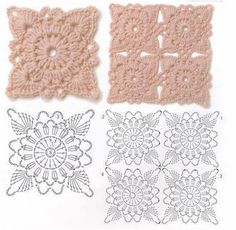 Hooked on crochet: motifs Crochet Square Patterns, Crochet Diagram, Crochet Stitches Patterns, Crochet Squares, Crochet Chart, Crochet Motif, Crochet Designs, Granny Squares, Crochet Doilies