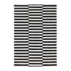 Ikea Stockholm Rand Area Rug Black White Stripe Wool Contemporary 5x8 8 11  New