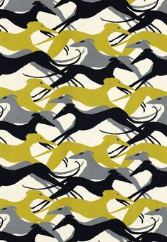 Graceful, running - Diamond Dogs in the Chartreuse colorway from Schumacher is the existing curtain fabric. Greyhounds in a blue grey, chartreuse, and black. Dog Wallpaper, Fabric Wallpaper, Pattern Wallpaper, 1950s Wallpaper, Textile Patterns, Print Patterns, Floral Patterns, Pattern Print, Contemporary Upholstery Fabric