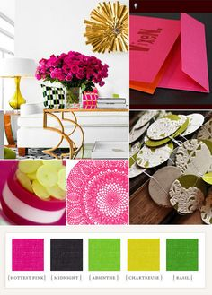 Hot pink and green color palette by letitia. take out the dark color and add a dusty blue and make the yellow into a lighter, clean yellow l? Green Colour Palette, Green Colors, Pink Color, Color Palate, Colour Schemes, Color Patterns, Colour Trends, Color Combos, Summer Wedding Colors