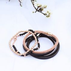 Black Leather Bracelet - 14,95 €  Beaded Flex Magnetic Bracelet Sterling  Silver - 44,95 €  Beaded Sterling Silver Bracelet - 19,95 €  Onyx & Silver Bracelet - 19,95 €