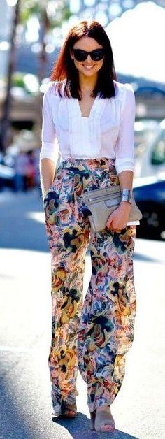 White blouse + Floral chiffon  pants                                                                             Source
