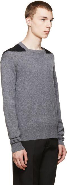 Alexander McQueen Grey & Black Colorblock Sweater