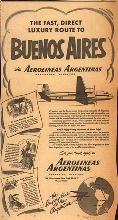 found: vintage airline ads Vintage Advertisements, Vintage Ads, Vintage Banner, Airline Logo, Argentine, Poster S, Old Ads, Vintage Travel Posters, Ciel
