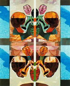 Ácido simétrico. 1980. Pintura acrílica sobre tela. 200 x 161 cm. Colección particular. Obra de Luis Gordillo