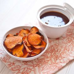 Baked Sweet Potato Chips with Cinnamon Caramel Dipping Sauce ... more interested in the chips but...