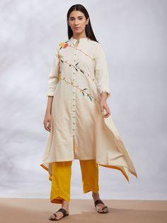 Off White Embroidered Khadi Asymmetric Kurta with Mustard Yellow Pants - Set of 2 Mustard Yellow Pants, Navy Blue Pants, Red Pants, Khadi Kurta, Shalwar Kameez, Indian Look, Indian Ethnic Wear, Silk Kurti Designs, Kurta Style