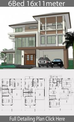 Home design plan with 6 bedrooms. Three-storey house Modern Contemporary style With tall window doors, combining modern lines to make the house look elegant and elegant, design 6 Bedroom House Plans, Coastal House Plans, Duplex House Plans, House Layout Plans, Dream House Plans, House Layouts, House Floor Design, Duplex House Design, Contemporary House Plans