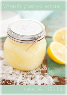DIY Salt Scrub. Just olive oil, sea salt, and lemon.
