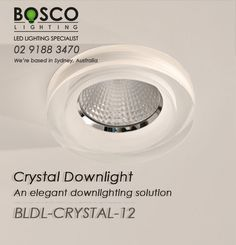 BoscoLighting has added a new recessed downlight, CRYSTAL. This translucent and elegantly designed downlight is made from high quality acrylic and other materials which makes it durable. Very easy to install and maintain. Please contact us for more info! Recessed Downlights, Reception Areas, Light Up, Crystals, Easy, Design, Crystal, Crystals Minerals