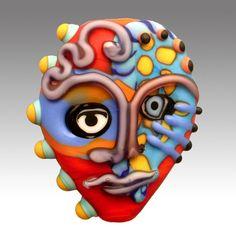 Aardvark's LUCID JUICER Mask Bead by aardvarkartglass on Etsy, $42.00