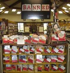 Banned Books Week display #bannedbooks #bannedbooksweek