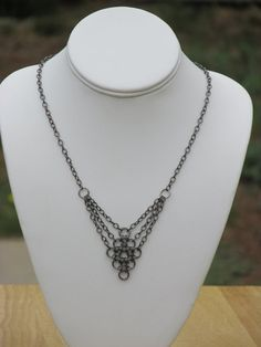 Gunmetal Necklace Chainmaille Necklace Gunmetal by AribellaJewelry