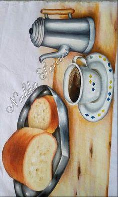 Pintura em pano de prato ,pão e café Still Life Sketch, Still Life Drawing, Still Life Art, Painting Patterns, Fabric Painting, Coca Cola Kitchen, Water Patterns, Country Paintings, Art Impressions