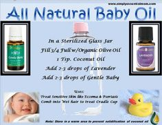 All Natural Baby Oil: Olive Oil; Coconut Oil; Lavender; Gentle Baby.  Good for eczema, psoriasis and cradle cap.  Found on The Crazy Oil Lady on Facebook