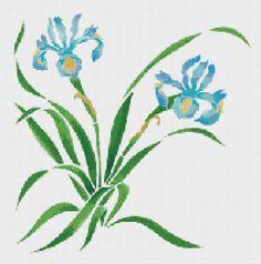 Blue Iris Counted Cross Stitch Pattern Chart by xstitchpatterns